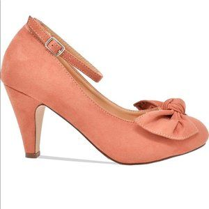 NEW Women's Round Toe Ankle Strap with Bow Tie Hee